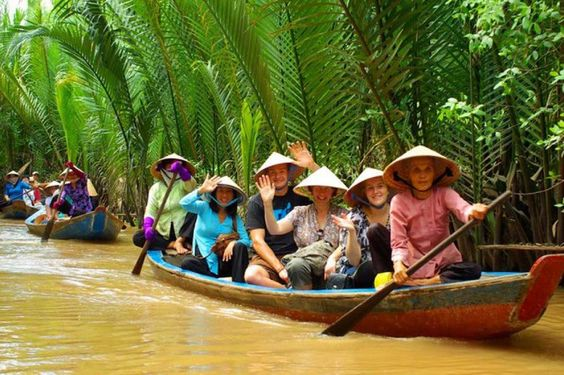 Go on a boat tour around the Mekong Delta